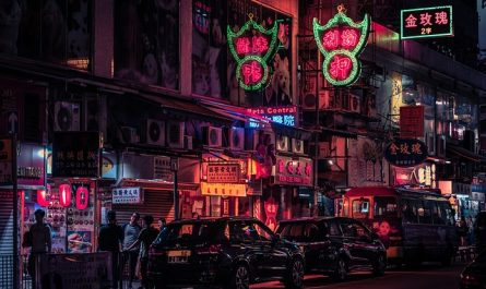 Hong Kong Neon Road Auto China
